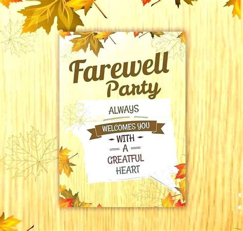 farewell party invitation card template  cards