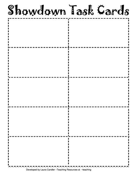 top task card templates      format