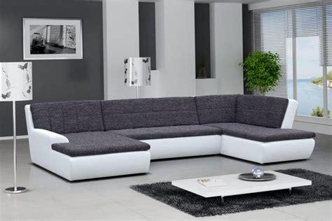canap d angle gris et blanc canap d 39 angle en pu blanc et tissu gris ceferino