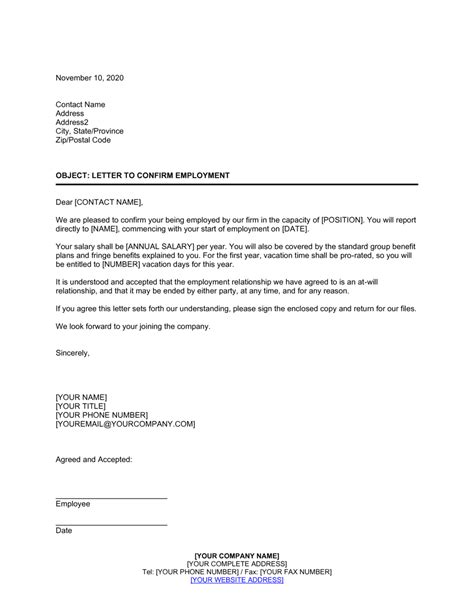 Letter Confirming Employment Template | by Business-in-a-Box™