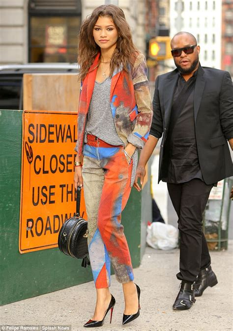 Zendaya Coleman Wears Vivienne Westwood Pant Suit While Out In Nyc Daily Mail Online