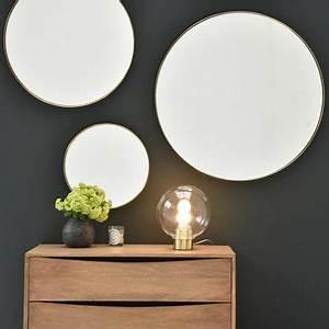 Miroir Rond Laiton : miroirs d coratifs ronds ou carr s en m tal ou en bois decoclico ~ Teatrodelosmanantiales.com Idées de Décoration