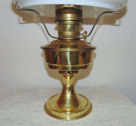 23 aladdin brass l oil kerosene w hand painted roses