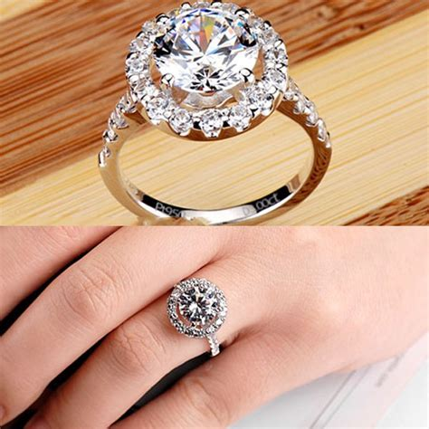 Luxury Small Crystal Surround Four Pronged Shining Diamond