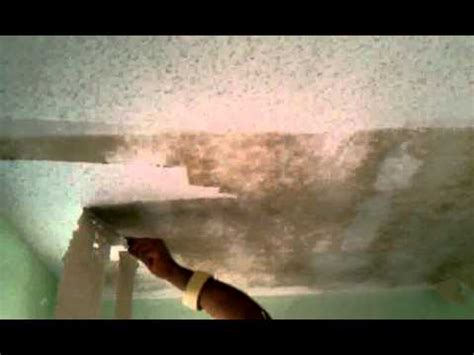 how to scrape popcorn acoustic texture off ceiling youtube
