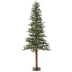 shop vickerman 6 ft pre lit alpine slim flocked artificial tree with warm white led