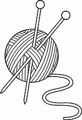 Knitting Yarn Needles Clipart Clip Lineart Etc sketch template