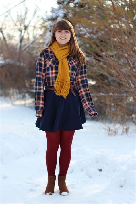 A Jeanie Outfit Flannel Shirt Navy Skater Skirt Mustard Scarf u0026 Dark Red Tights