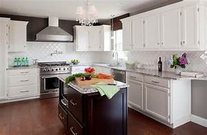 Tile Kitchen Backsplash Ideas with White Cabinets - Home