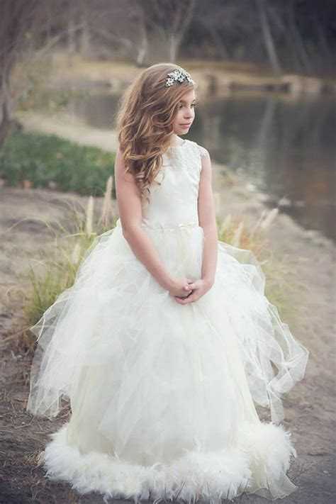 Custom Made Silk Latiel Feather Flower Girl Dress