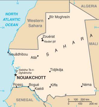 Mapa Mauritania (Mapa político)