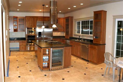 Kitchen Wood Tile Floor Ideas Wood Cabinets Black Table