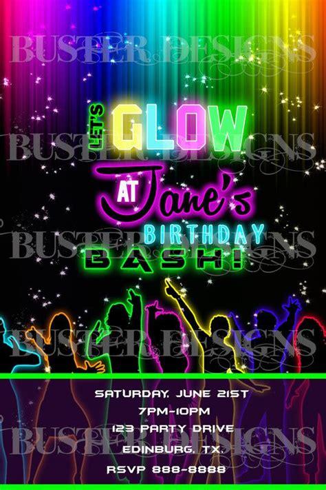 birthday girl neon glow party invitation personalized
