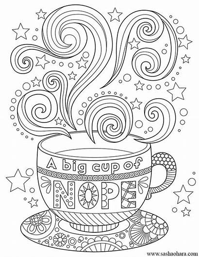 Coloring Pages Coffee Tea Cup Adult Colouring