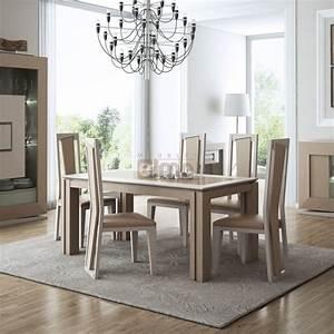 salle a manger contemporaine complete chene naturel et laque With meuble salle À manger avec salle À manger complète contemporaine
