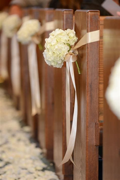 the church pews will have single stems of white hydrangea