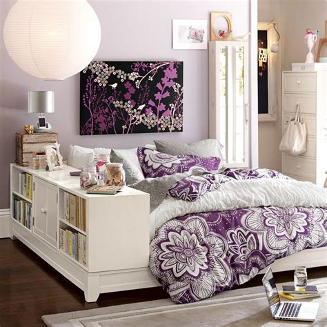 purple bedroom ideas for teenagers august 2012 house furniture 19551 | teen bedroom childrens girls idea storage bed ivory purple flowery design decor purple black shelf delicate drapes color study cottage chic pretty inspiration