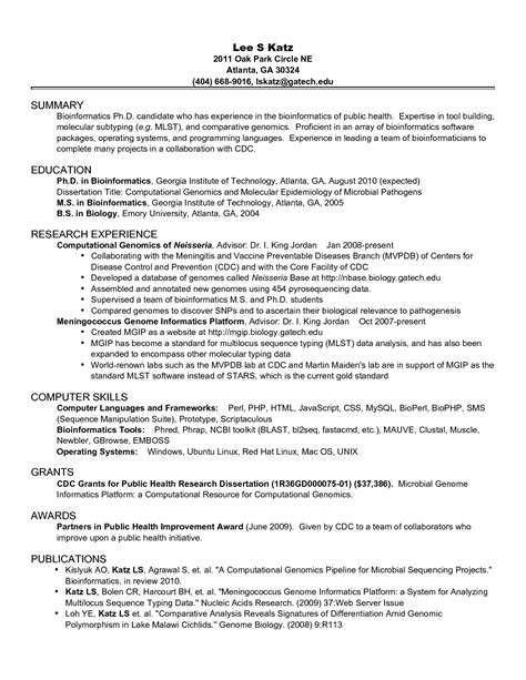 Phd Resume by Phd Academic Cv Resume Doctoral Student