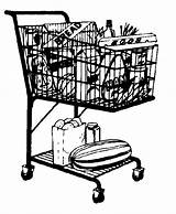 Shopping Clipart Clip Cart Grocery Cliparts Basket Groceries Library Regarding Cat sketch template