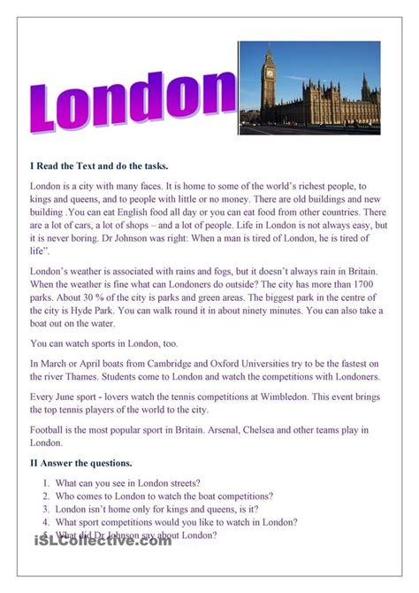 london reading comprehension lessons english reading