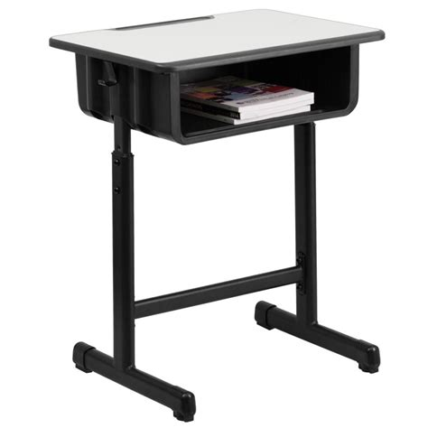 mfo student desk with grey top and adjustable height black