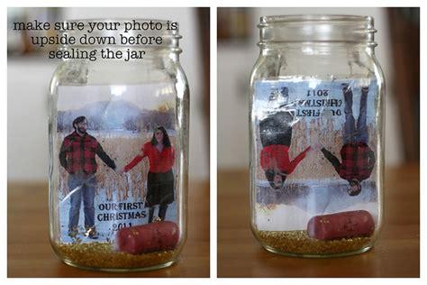 diy gift idea  photo snow globes  recycled jars