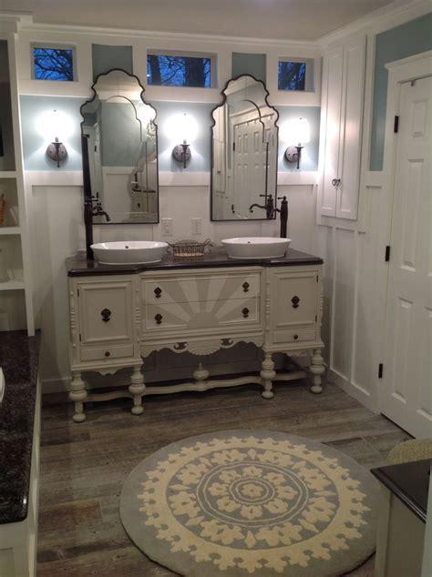 antique sideboard dresser repurposed  bathroom vanity