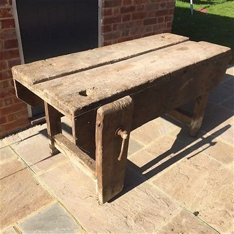 vintage carpenters woodworking bench vintage