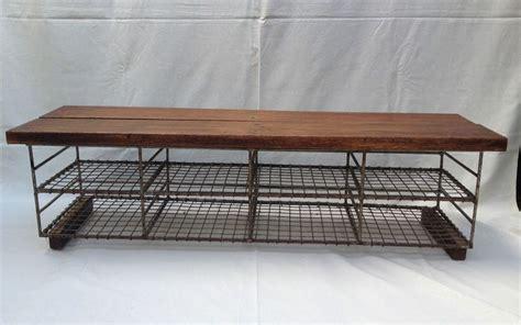 vintage industrial school shoe rack store metal wire oak