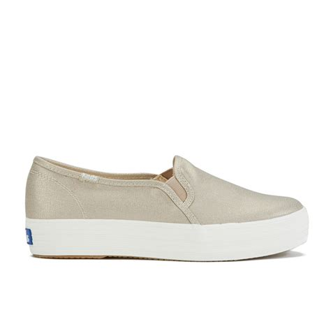 keds wh57728 gold keds 39 s metallic deckers canvas slip on