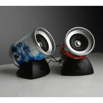 speakers   tin cans recycled tin cans tin