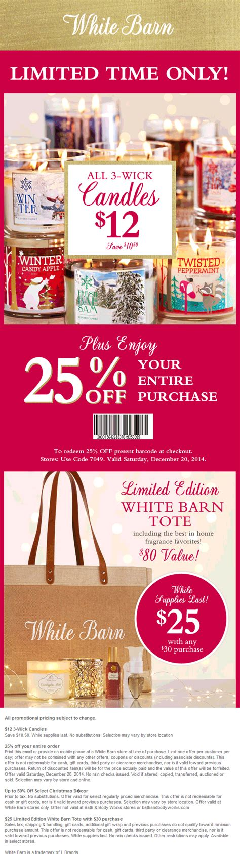 White Barn Candle Coupons white barn coupons 25 today at white barn candles