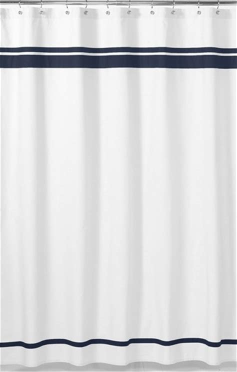 image navy blue and white shower curtain