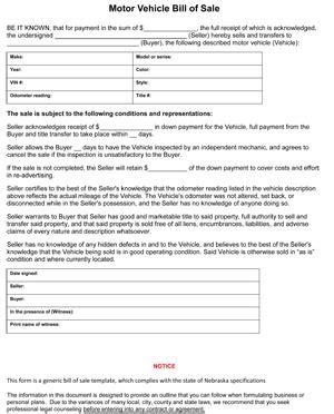 nebraska bill  sale form ws templates forms