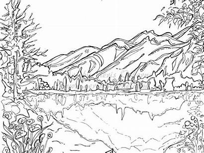 Scenery Drawing Pages Coloring Winter Printable Adults