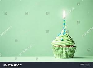 Green Birthday Cupcake Copy Space Side Stock Photo ...