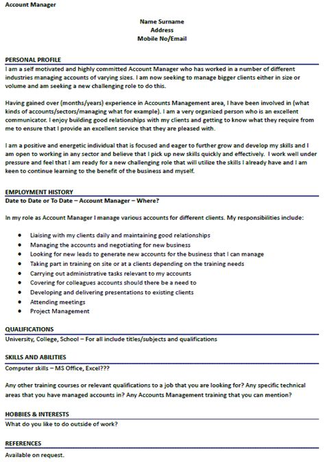 Hobby Projects In Resume by Account Manager Cv Exle Icover Org Uk