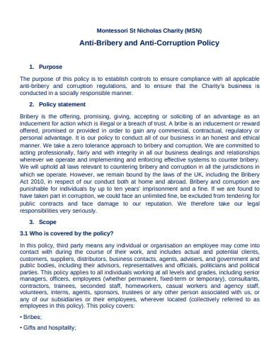 charity anti bribery policy templates
