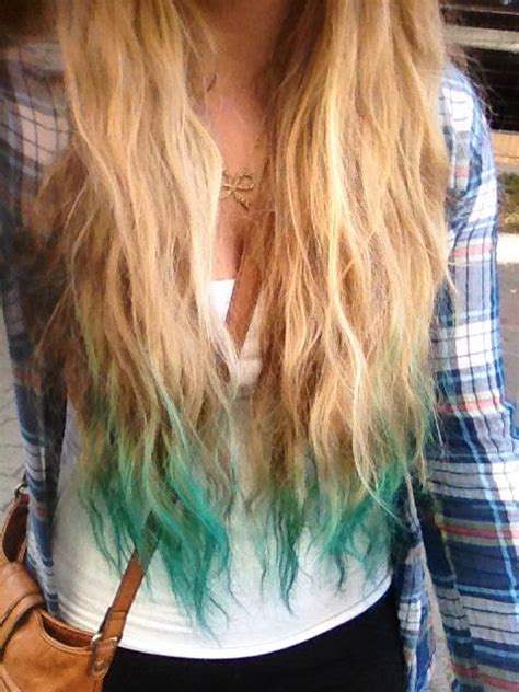 Turquoise Dip Dyed Hair Dip Dye Hair Dyed Hair Blue