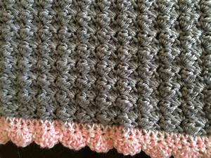 Crochet Baby Car Seat Blanket In Shell Stitch With Shell ...