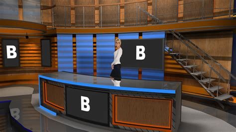 virtual set studio   hd   news desk  stairs