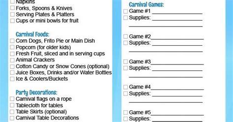 Carnival Birthday Checklist Carnival Birthday Checklist Free