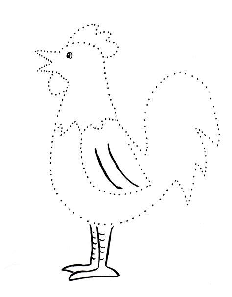 rooster dot drawing art starts  kids