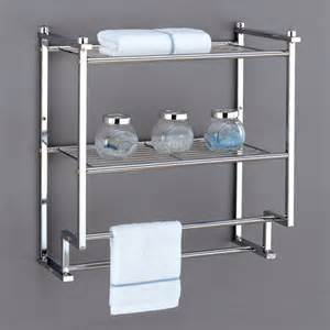 Bathroom Wall Shelves With Towel Bar by Shelves Metro Collection 2 Tier Wall Mounting Rack With