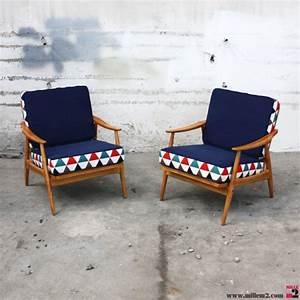 Fauteuil Scandinave Tissu : fauteuil vintage style scandinave coussins deux faces mille m2 ~ Teatrodelosmanantiales.com Idées de Décoration