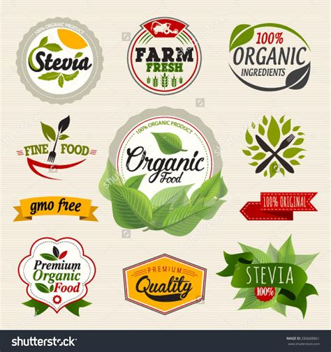 Stevia And Organic Food Label Set Farm Fresh Label And
