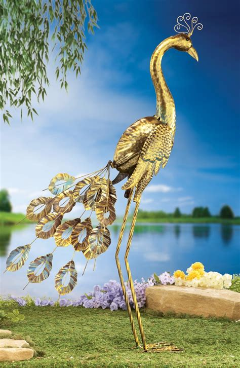 peacock decorative metal garden stake
