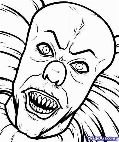 Coloring Creepy Adults Drawing Scary Clown Drawings