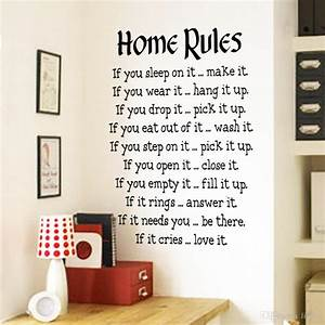 home rules wall sticker quotes home decor vinyl art decals With best brand of paint for kitchen cabinets with christmas wall art stickers
