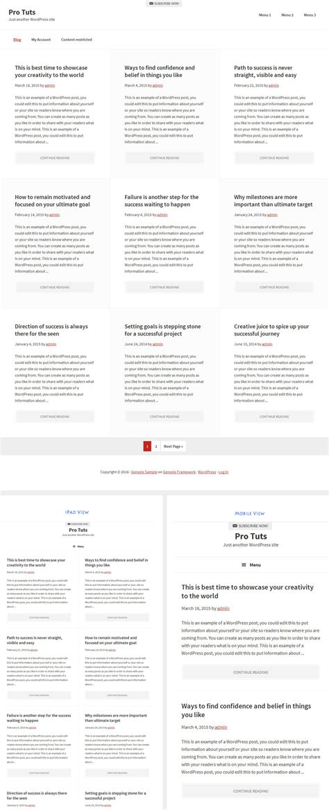 create new page template for blog in genesis creating a full width 3 columns layout for blog page